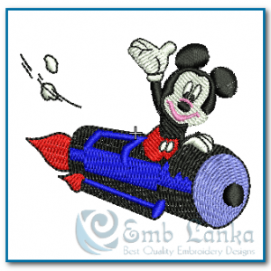 Free designs Mickey Mouse Fly Rocket Embroidery Design Mickey Mouse