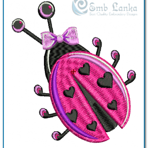 Bugs Pink Lady Bugs Embroidery Design [tag]