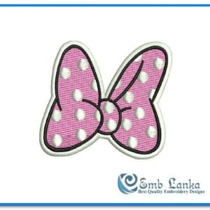 Cartoon Free Light Pink Minnie Minnie Mouse Bow Embroidery Design [tag]