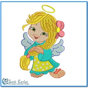 Cute Angel Girl 4 Embroidery Design Angels