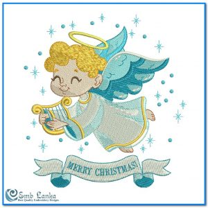 Cute Little Angel With Merry Christmas Embroidery Design Angels [tag]