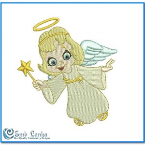 Cute Little Happy Angel Embroidery Design Angels