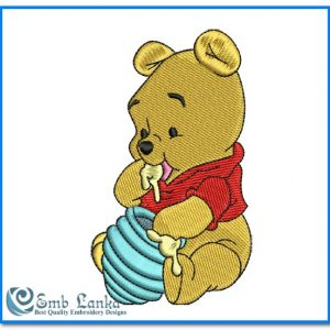 Animals Disney Winnie The Pooh Eating Honey Embroidery Design [tag]