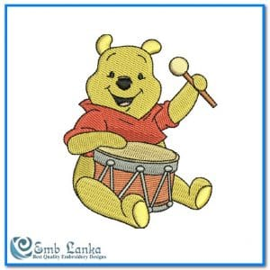 Animals Disney Winnie The Pooh Playing Drum Embroidery Design [tag]