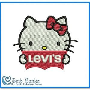 Animals Hello Kitty with Levis Logo Embroidery Design [tag]