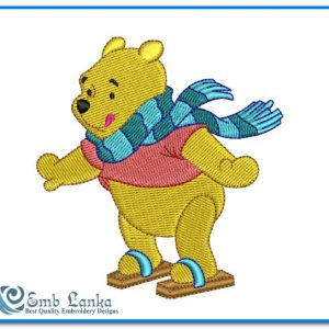 Animals Winnie the Pooh Playing Snowboarding Embroidery Design [tag]